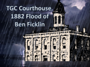 Pam Backlund sketched the Ben Ficklin Courthouse of Tom Green County and imagined the flood of 1882.